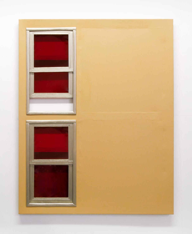 porte beige fenêtre rouge — Charlotte Houette, Artiste